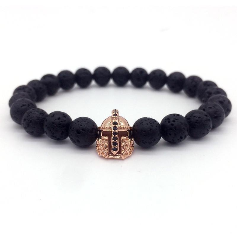 Trendy Lava Stone Imperial Crown And Helmet Charm Bracelet - 3 - Charm Bracelets