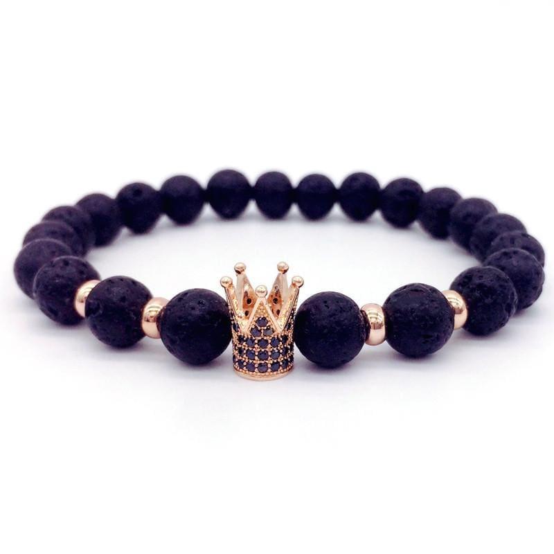 Trendy Lava Stone Imperial Crown And Helmet Charm Bracelet - 7 - Charm Bracelets