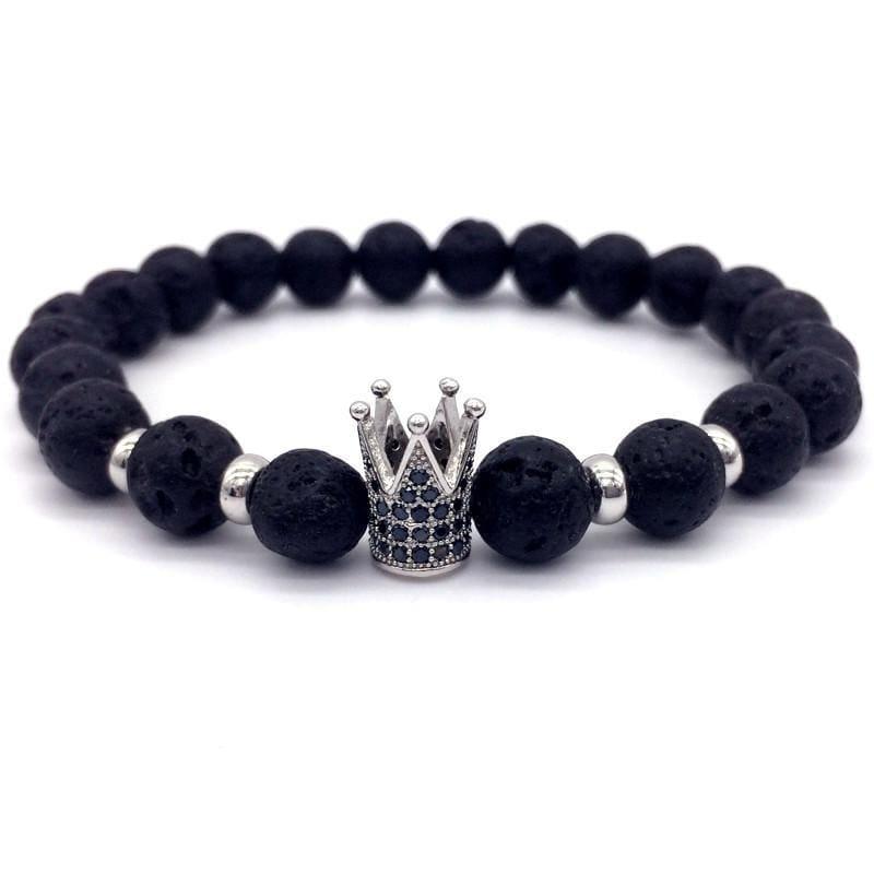Trendy Lava Stone Imperial Crown And Helmet Charm Bracelet - Charm Bracelets