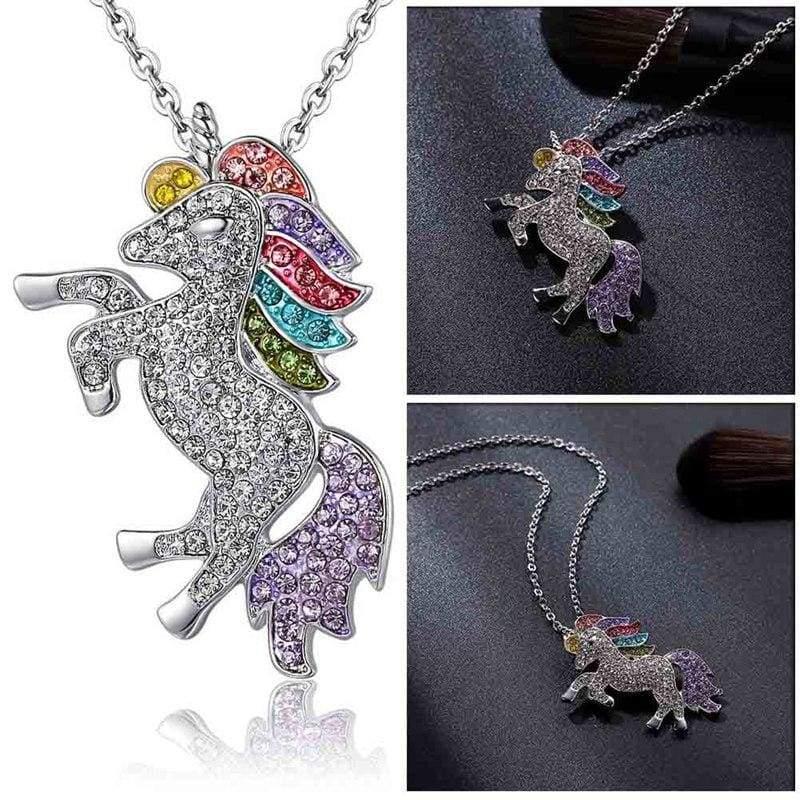 Unicorn Girls Rainbow Pendant - MC - Pendant Necklaces