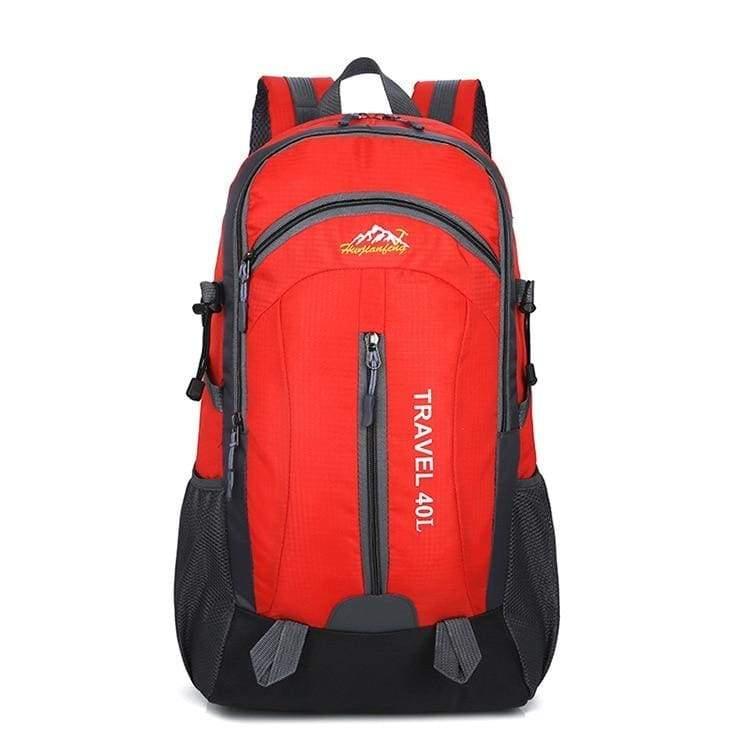 USB Charging Waterproof Backpack - Red - Backpacks
