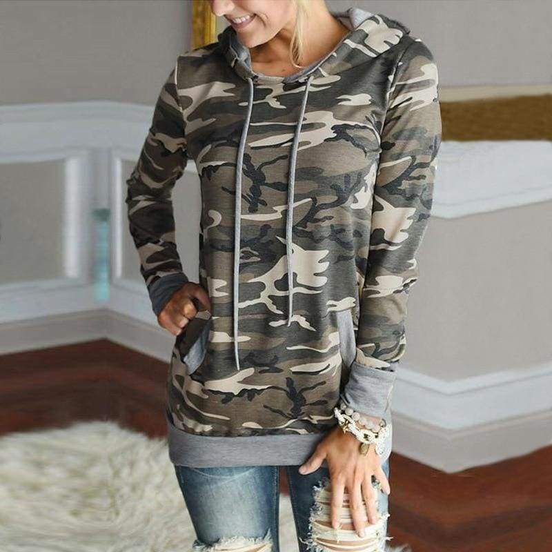 Vintage floral hoodie - T0563ArmyGreen / L - Hoodies & Sweatshirts