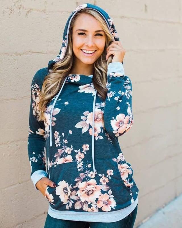 Vintage floral hoodie - T0563Blue / L - Hoodies & Sweatshirts