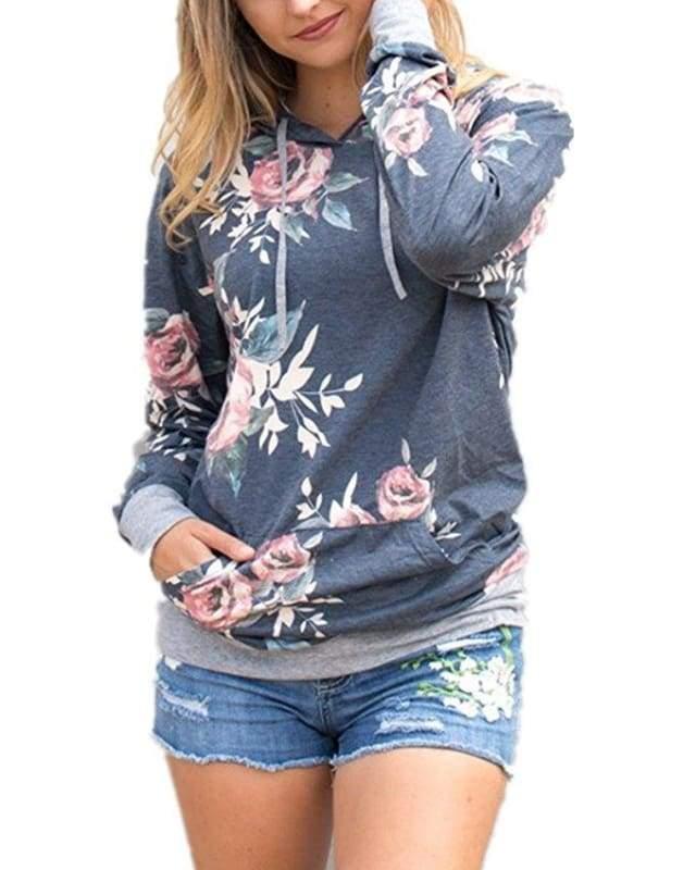 Vintage floral hoodie - T0563Grey / L - Hoodies & Sweatshirts