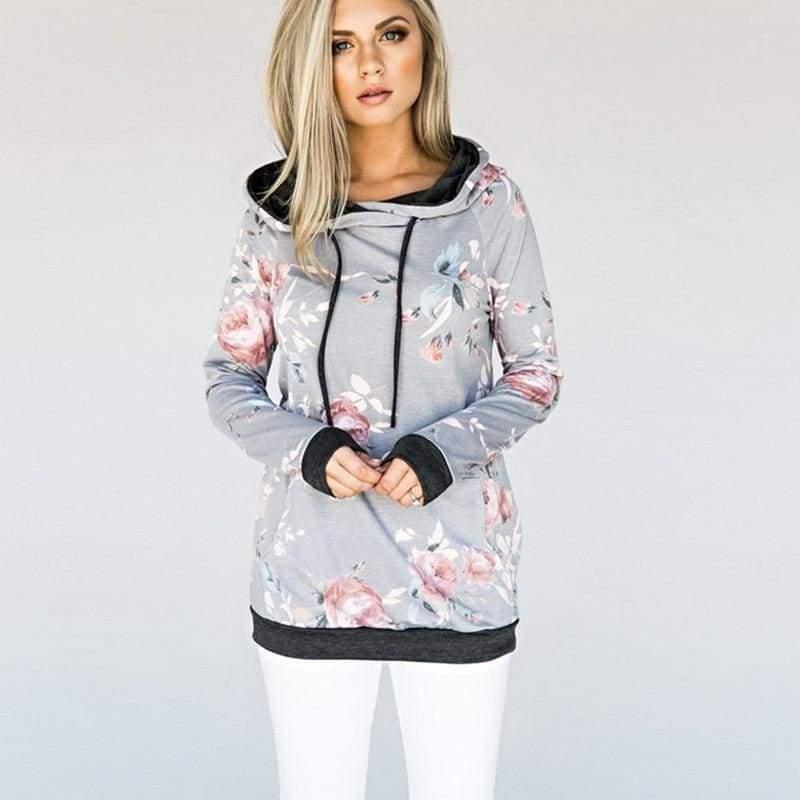 Vintage floral hoodie - T0563LightGray / L - Hoodies & Sweatshirts