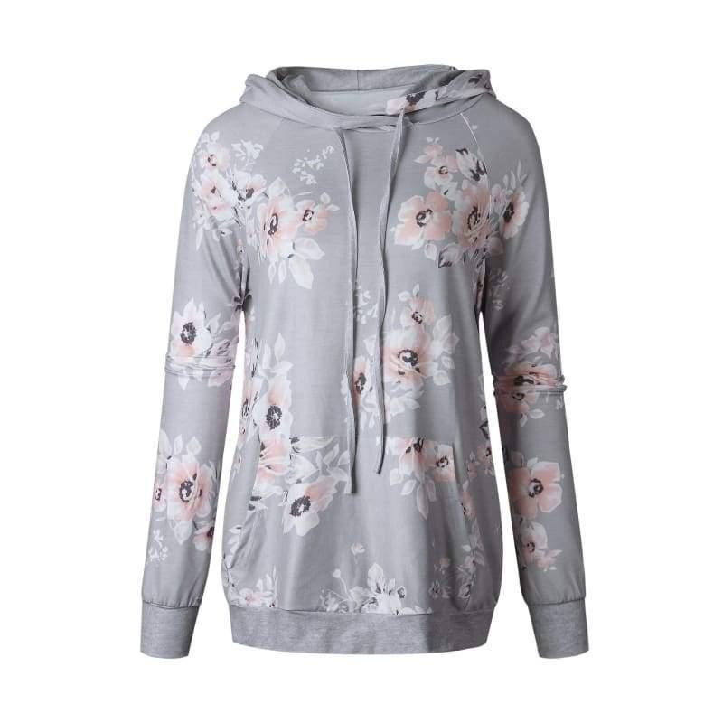 Vintage floral hoodie - T0563LightGrey / L - Hoodies & Sweatshirts