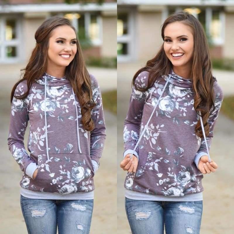 Vintage floral hoodie - T0563Purple / L - Hoodies & Sweatshirts