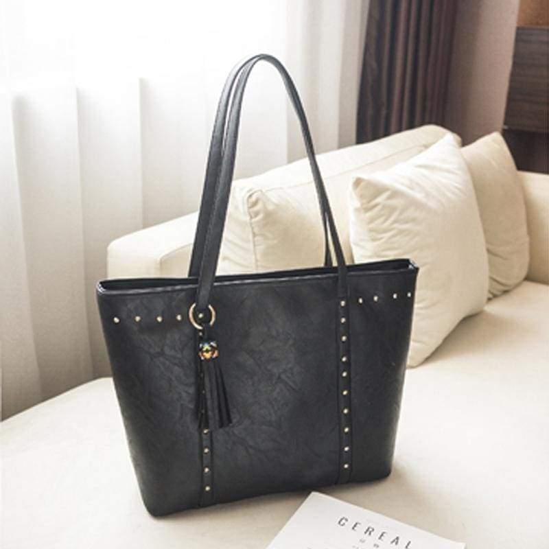 Vintage large capacity bag - black - Top-Handle Bags