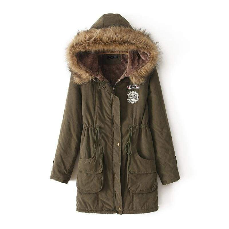 Warm Hooded Parka Women Just For You - Army Green / XXL / United States - Parkas