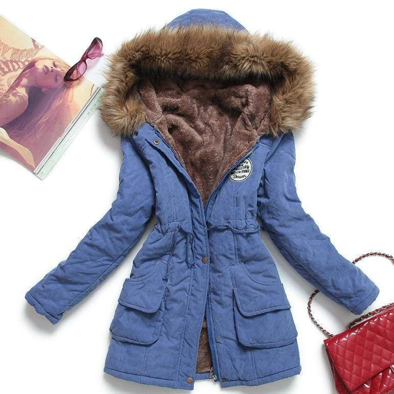 Warm Hooded Parka Women Just For You - Blue / XXL / United States - Parkas