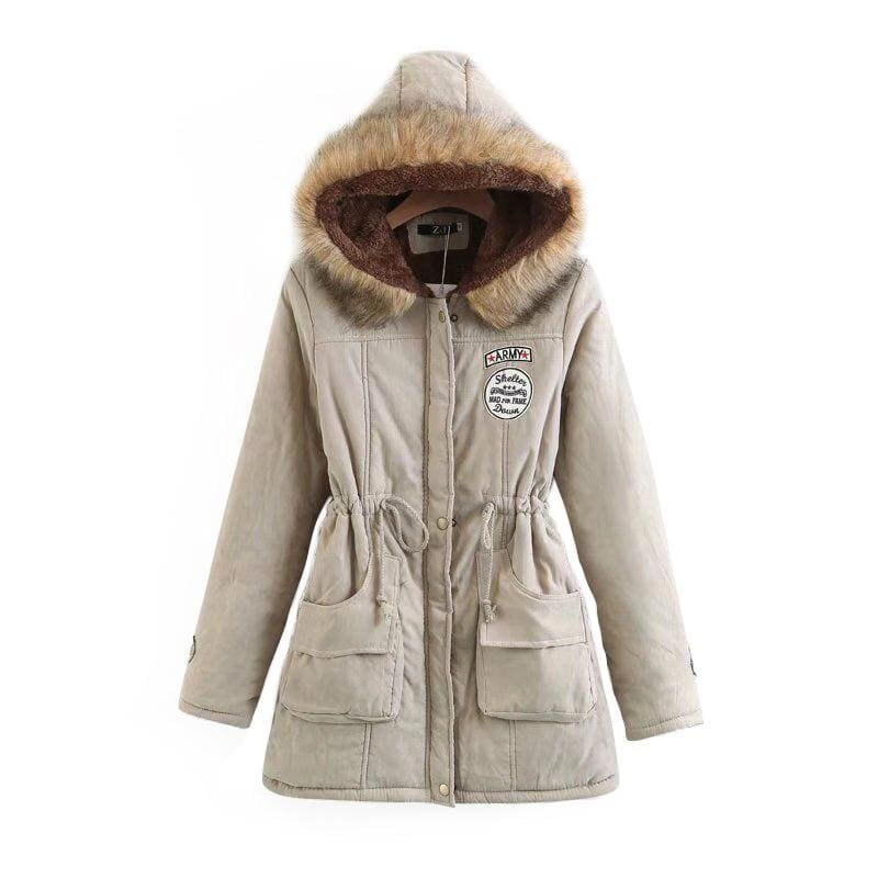 Warm Hooded Parka Women Just For You - Khaki / XXL / United States - Parkas
