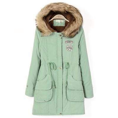 Warm Hooded Parka Women Just For You - Light bean green / XXL / United States - Parkas