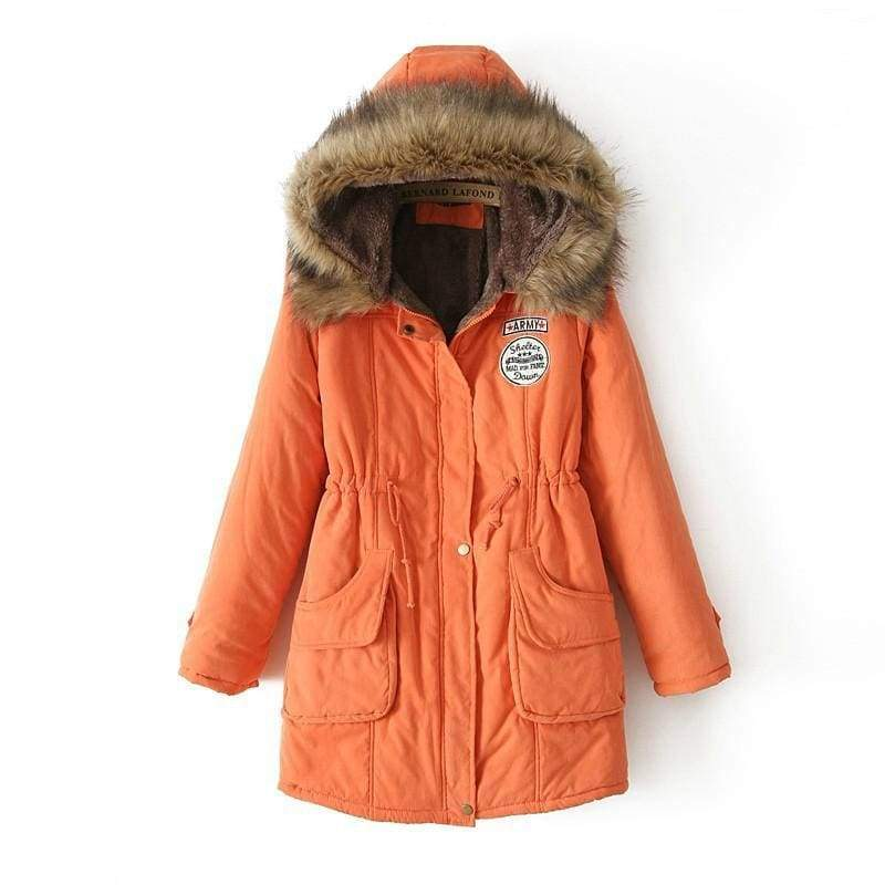Warm Hooded Parka Women Just For You - Orange / XXL / United States - Parkas