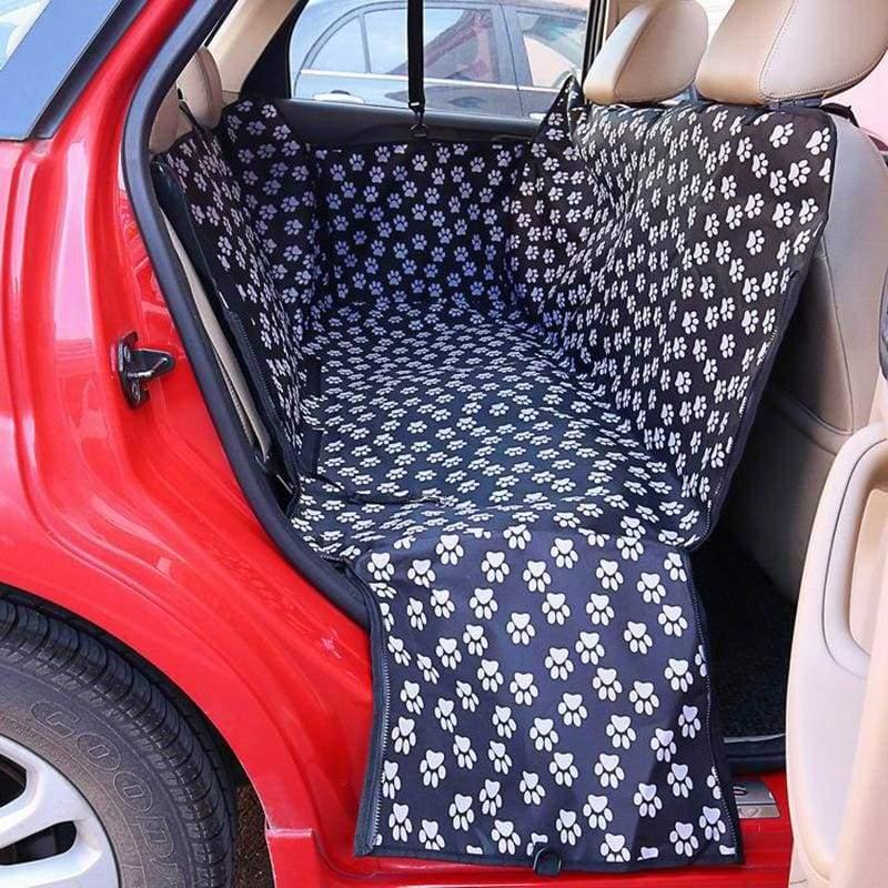 Waterproof dog car seat cover - Black Footprint / 130x 150x 38cm - Dog Carriers