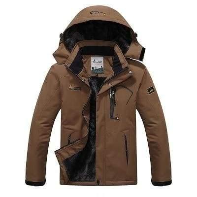 Waterproof Jacket For Men - Coffee / L