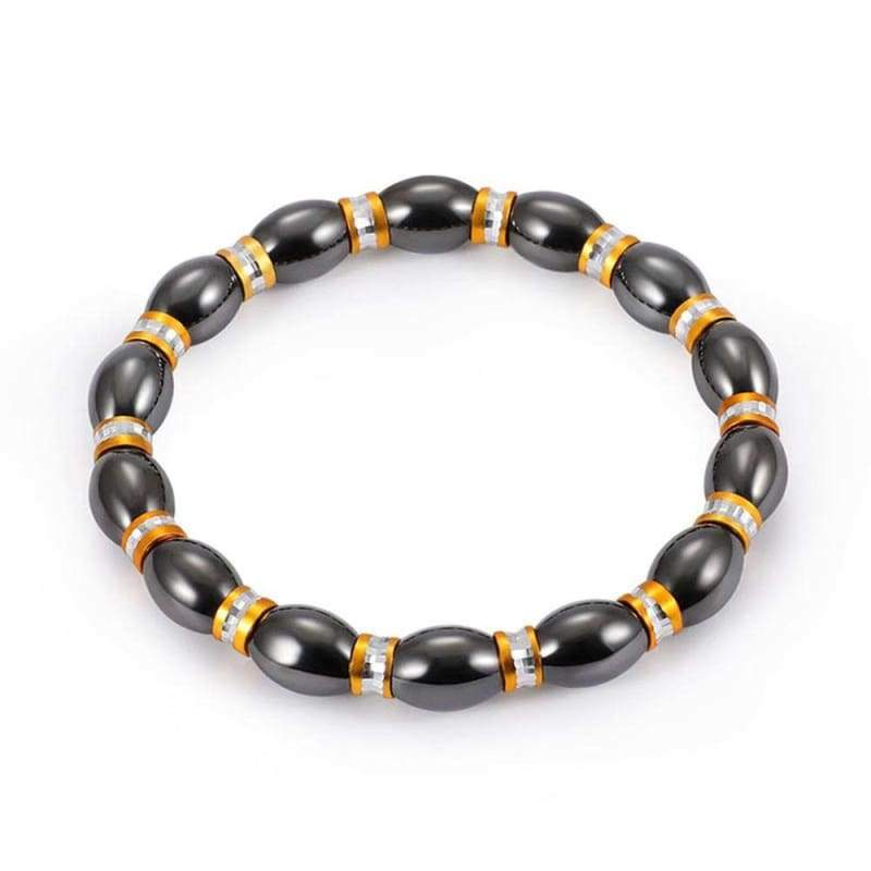 Weight Loss Magnetic Therapy Round Black Stone Bracelet - Design13 - Charm Bracelets