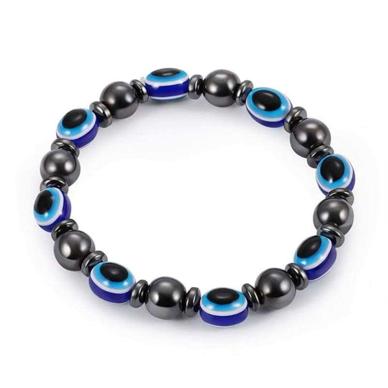 Weight Loss Magnetic Therapy Round Black Stone Bracelet - Design14 - Charm Bracelets