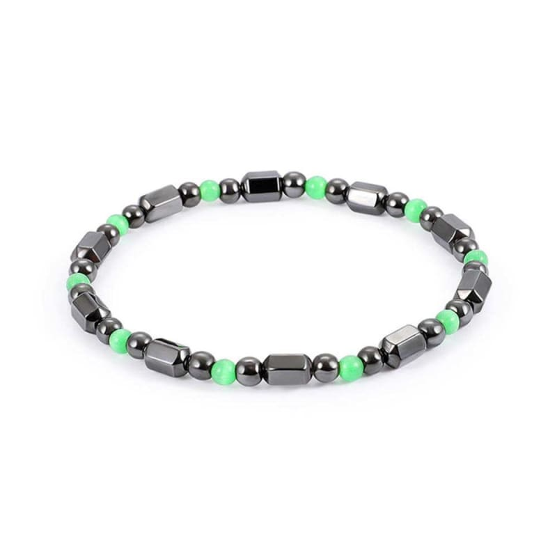 Weight Loss Magnetic Therapy Round Black Stone Bracelet - Design17 - Charm Bracelets
