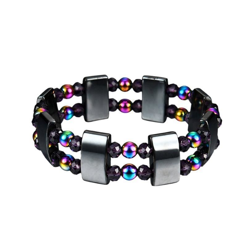 Weight Loss Magnetic Therapy Round Black Stone Bracelet - Design5 - Charm Bracelets