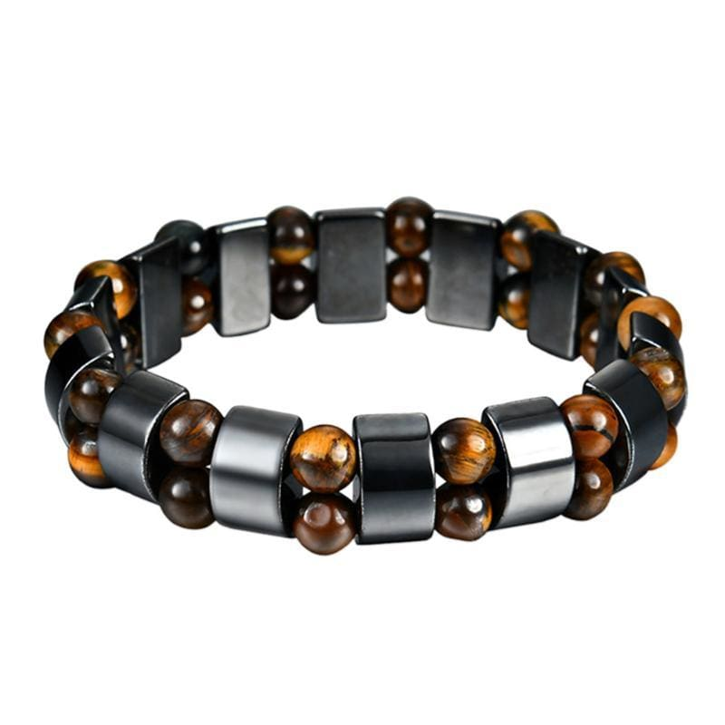 Weight Loss Magnetic Therapy Round Black Stone Bracelet - Design9 - Charm Bracelets