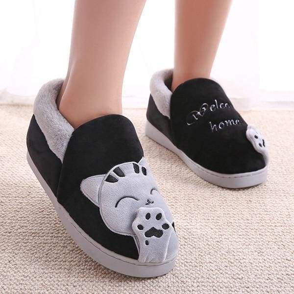Winter Cartoon Cat Slippers for Home - black top / 8 - Slippers