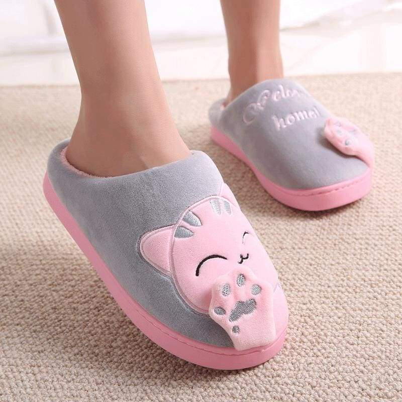 Winter Cartoon Cat Slippers for Home - gary / 4.5 - Slippers