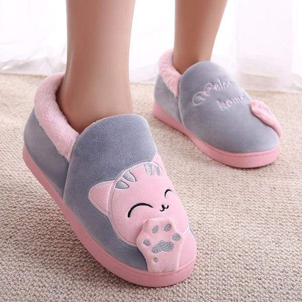 Winter Cartoon Cat Slippers for Home - gray top / 4.5 - Slippers