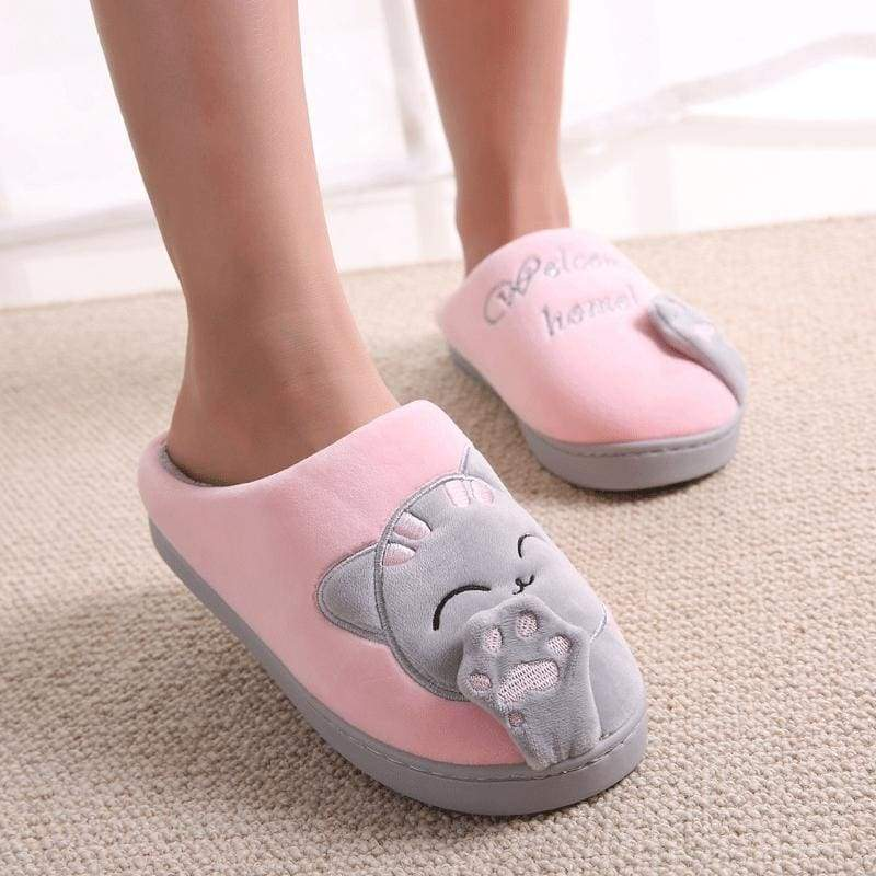 Winter Cartoon Cat Slippers for Home - pink / 4.5 - Slippers