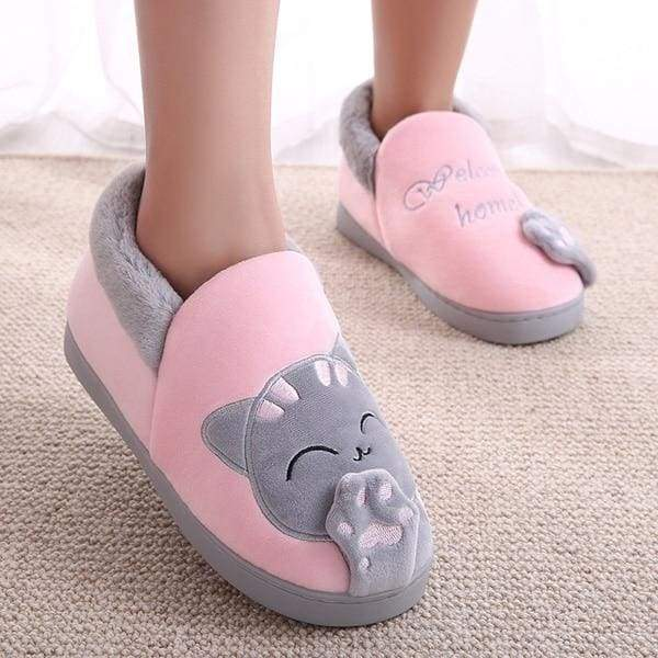 Winter Cartoon Cat Slippers for Home - Pink top / 4.5 - Slippers