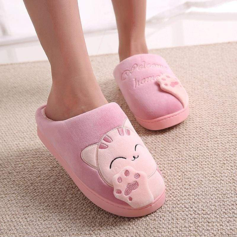 Winter Cartoon Cat Slippers for Home - red / 4.5 - Slippers