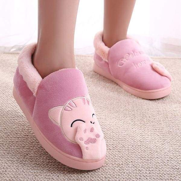 Winter Cartoon Cat Slippers for Home - red top / 4.5 - Slippers