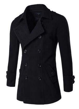 Winter Peacoat Mens Jackets And Coats - Black / XS - Wool & Blends