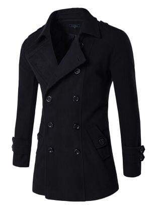 Winter Peacoat Mens Jackets And Coats - Black / XS - Wool & Blends