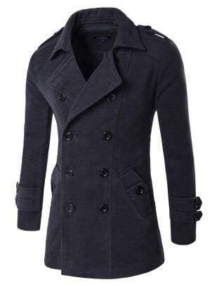 Winter Peacoat Mens Jackets And Coats - Dark Grey / XS - Wool & Blends