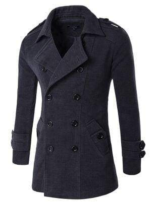 Winter Peacoat Mens Jackets And Coats - Dark Grey / XS - Wool & Blends