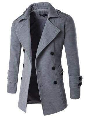 Winter Peacoat Mens Jackets And Coats - Gray / XS - Wool & Blends