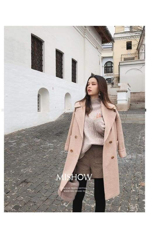 Winter Wool Coat Women Just For You - Pink / L - Women Coat