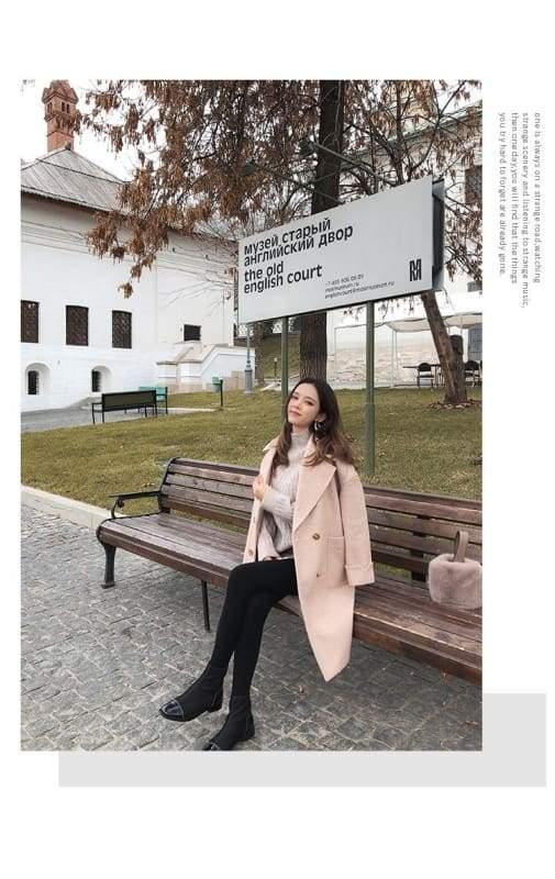 Winter Wool Coat Women Just For You - Pink / M - Women Coat