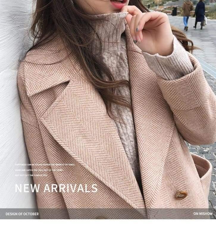 Winter Wool Coat Women Just For You - Pink / S - Women Coat