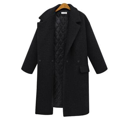 Women Wool Peacoats With Quilting - black / S - Wool & Blends
