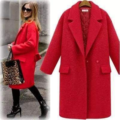 Women Wool Peacoats With Quilting - red / S - Wool & Blends