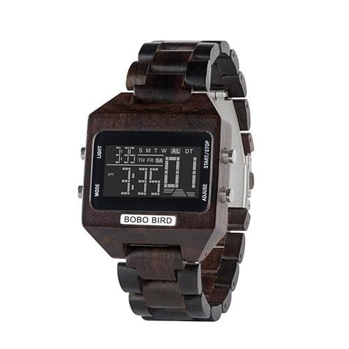 Wooden Watch with LED Digital For Men and Women - W-s30-1 - Watches