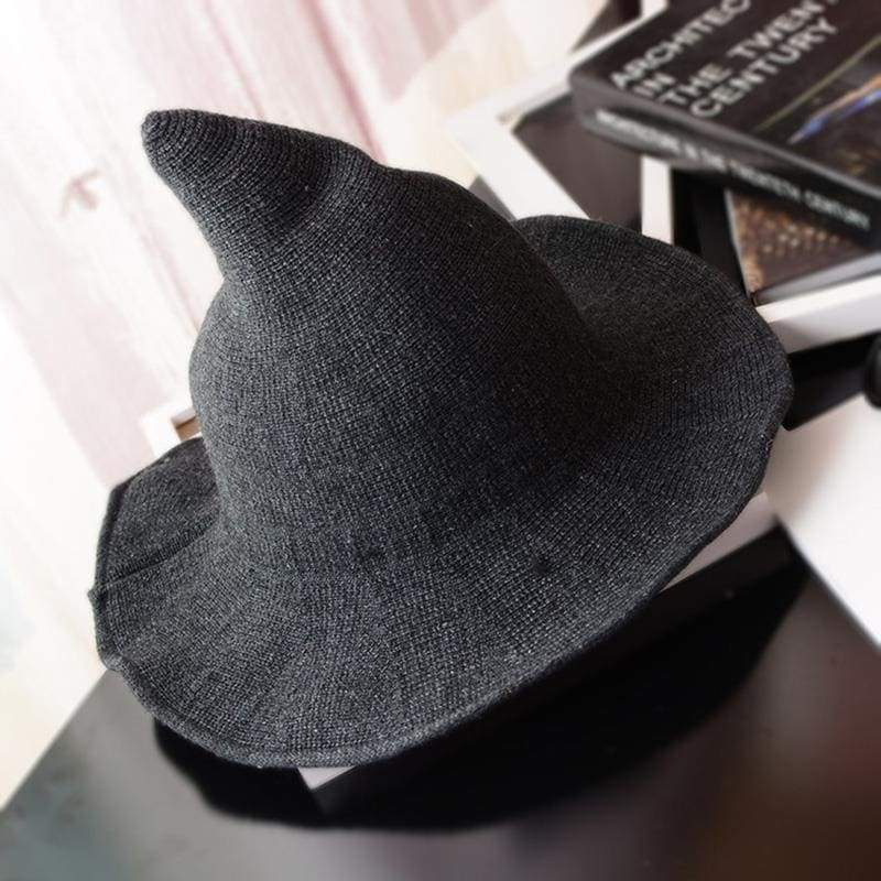 Wool Pointy Witch Hat - Dark Gray - Party Hats