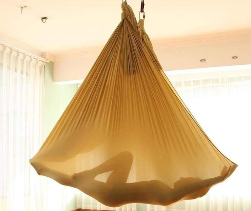 Yoga Hammock Aerial Flying Swing - Gold - Gym Fitness