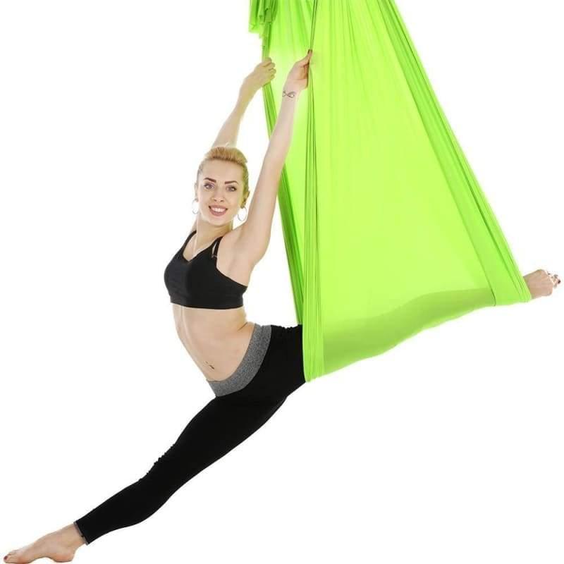 Yoga Hammock Aerial Flying Swing - Light Green - Gym Fitness