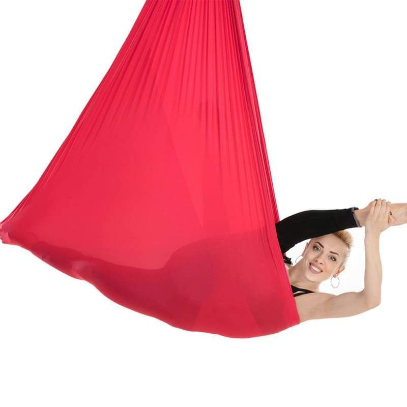 Yoga Hammock Aerial Flying Swing - Red - Gym Fitness