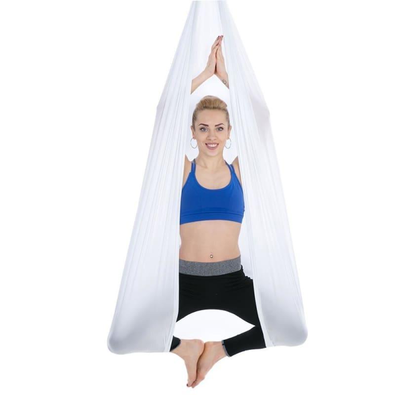 Yoga Hammock Aerial Flying Swing - White - Gym Fitness