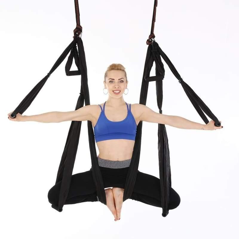 Yoga Hammock Anti-gravity Swing Parachute - Black - Gym Fitness