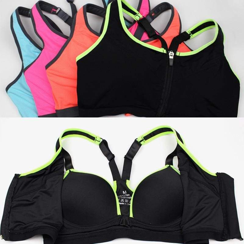 Zipper Sports Bra Women Fitness Yoga Bra - Sports Bras