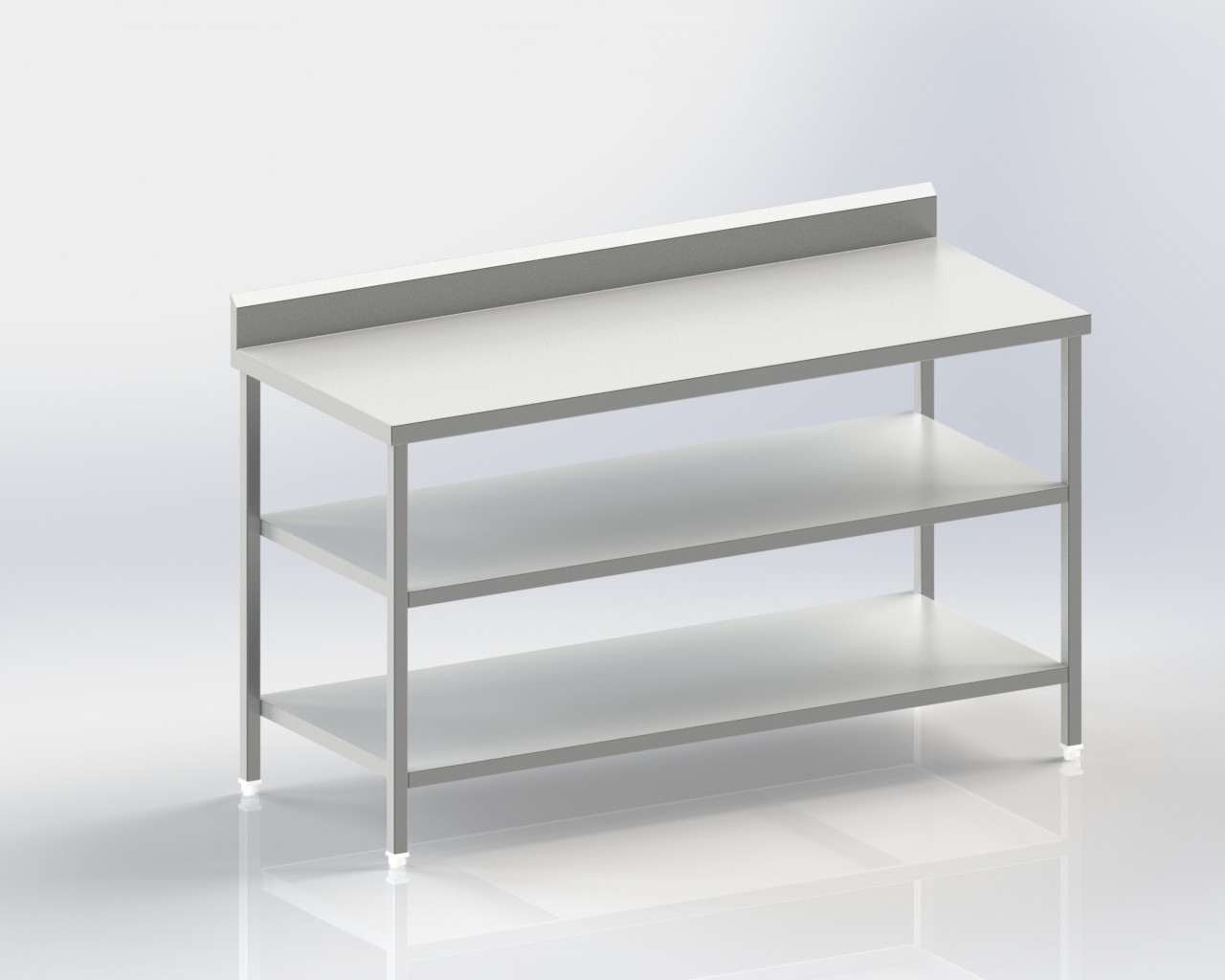 Mobile Table with Lower and Intermediate Shelves
